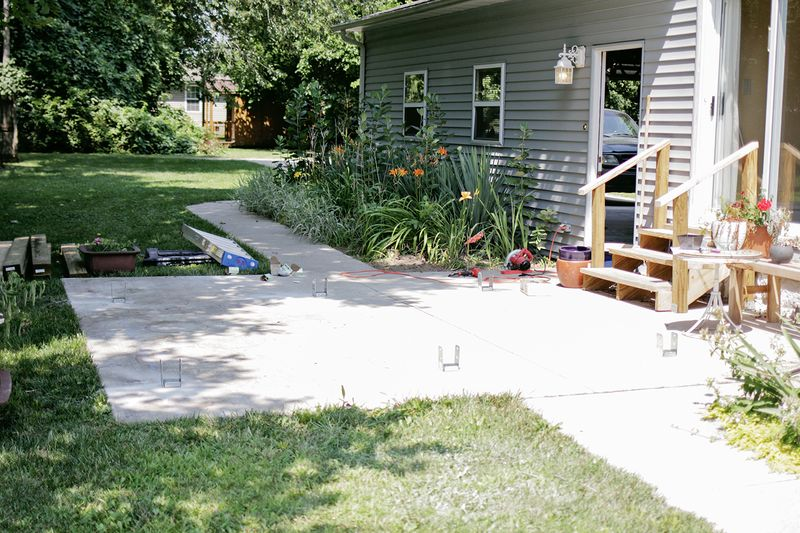 Build a pergola - drilling for anchor bolts (click through for more info)