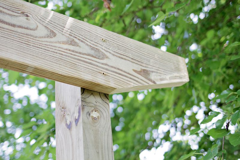 Build a pergola - cutting corner off of beam (click through for more info)
