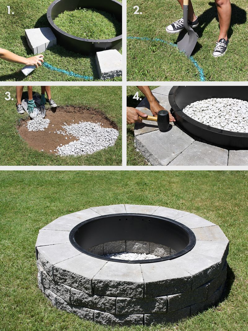 This would be great for the backyard! Firepit in 4 easy steps (click through - Make Your Own Fire Pit In 4 Easy Steps! - A Beautiful Mess