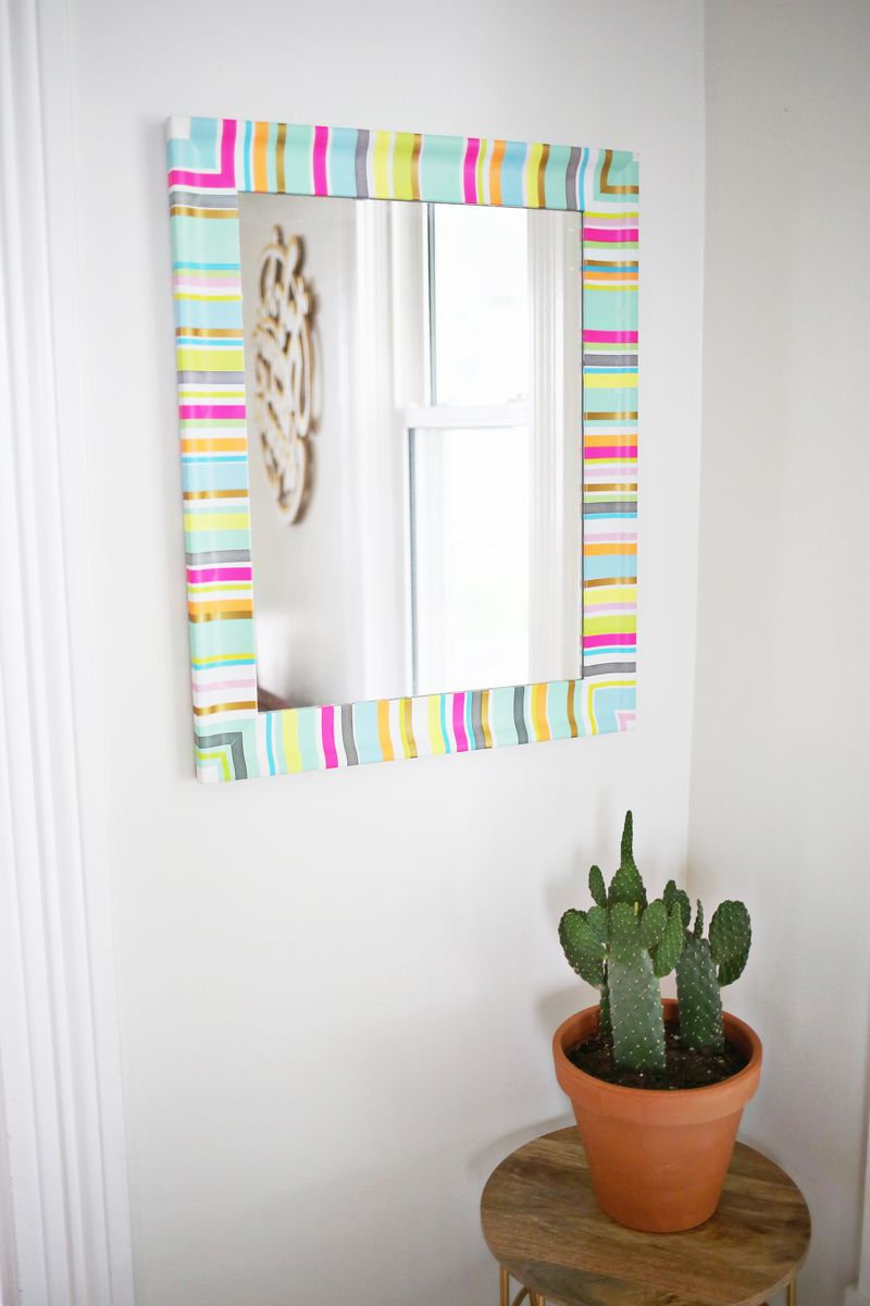 Washi tape stripes! Easy way to add color to a boring mirror