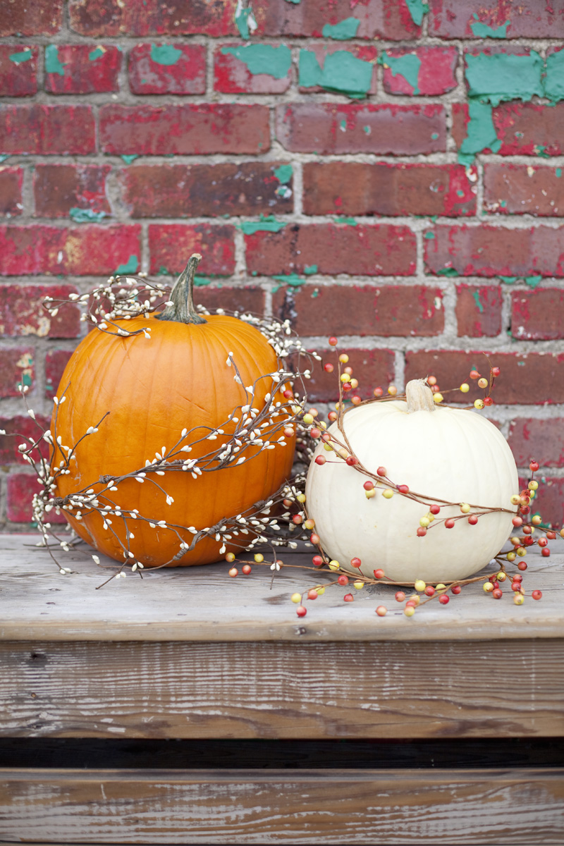 decorate pumpkins with garlands for easy fall decor