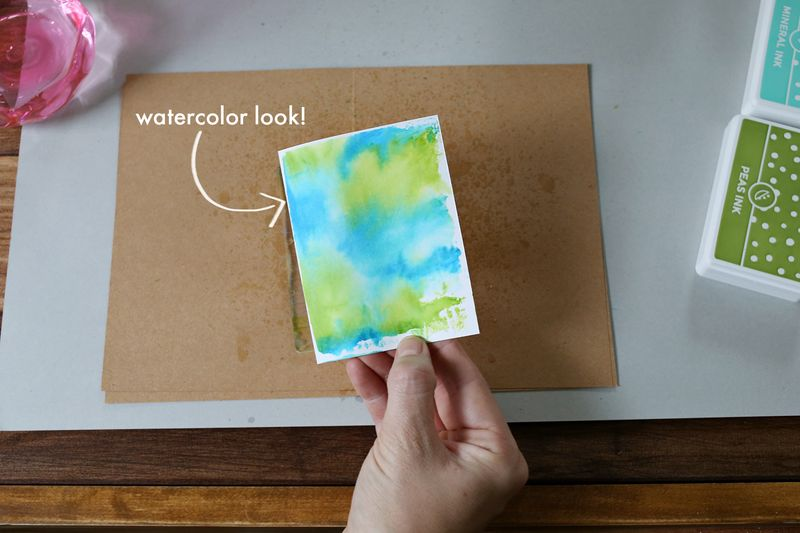 Watercolor look make with stamping inks!