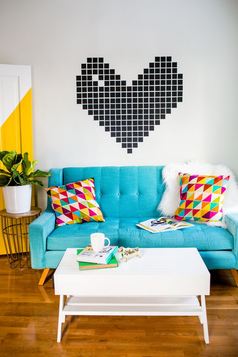 Diy Heart Shaped Washi Tape Wall Art