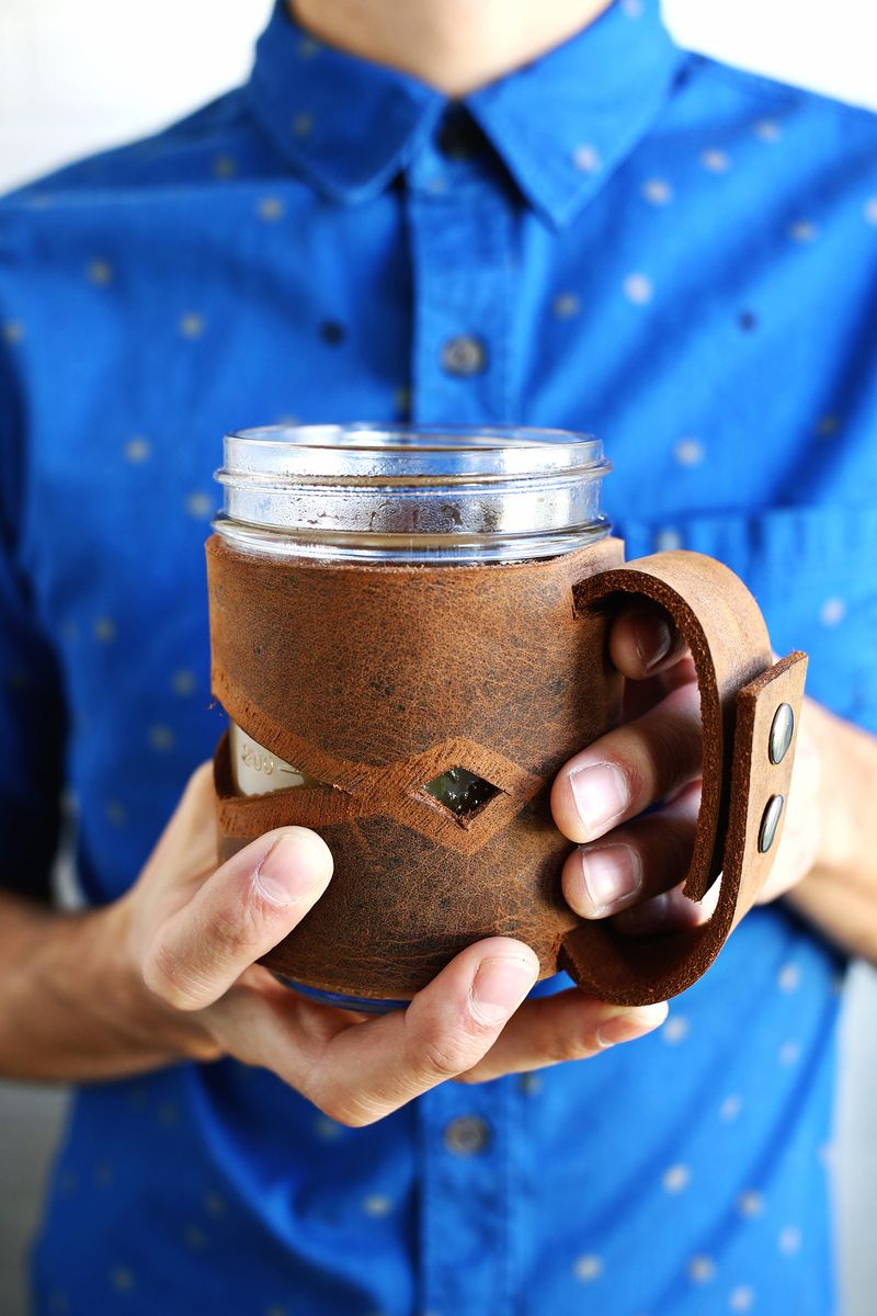 Homemade gift idea, leather mason jar sleeve