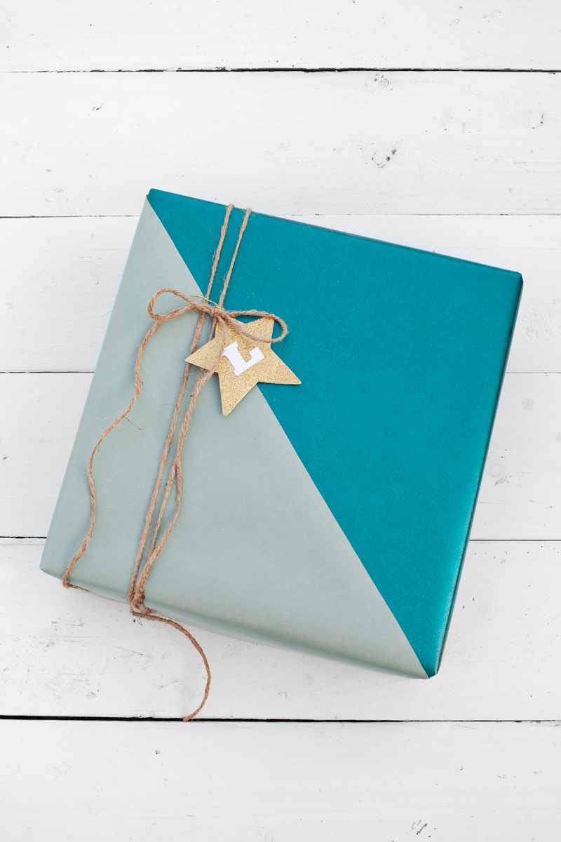 Layer wrapping paper for a graphic color blocked gift