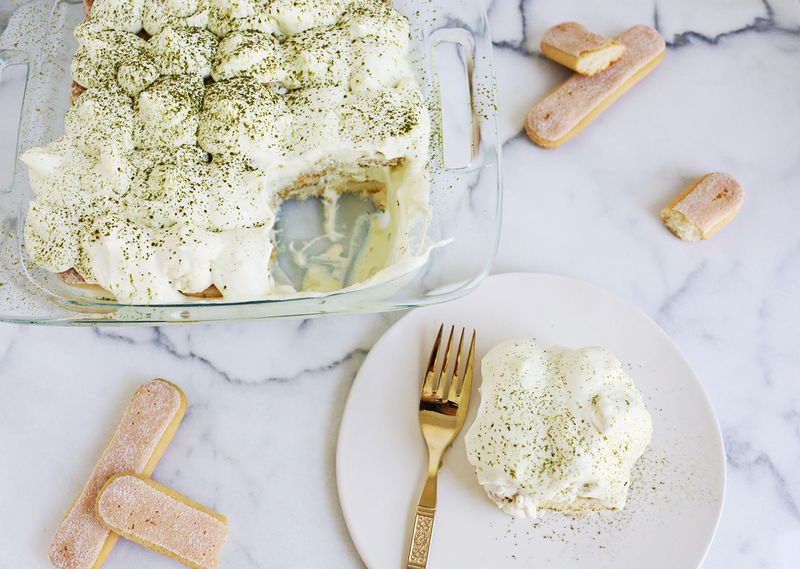 Matcha and White Chocolate Tiramisu (via abeautifulmess.com)