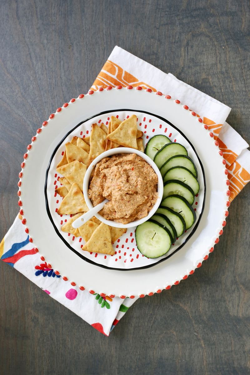 Yum! spicy red pepper dip (click through for recipe)