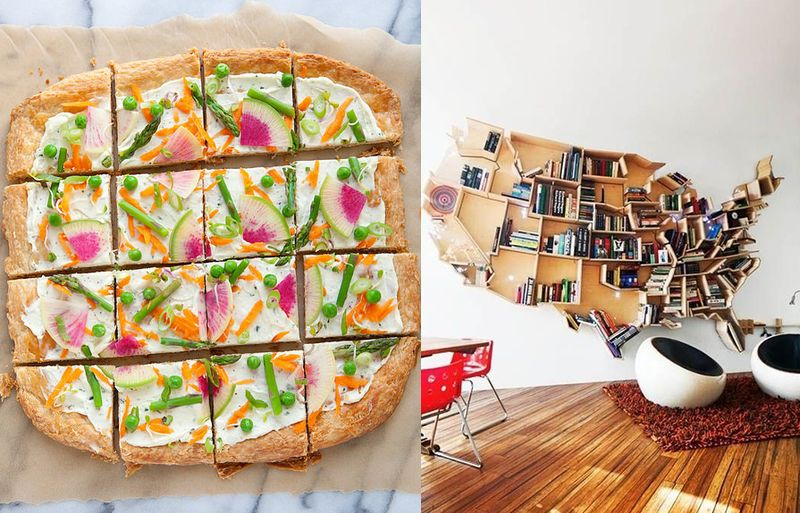 Pretty pizza and bookshelf