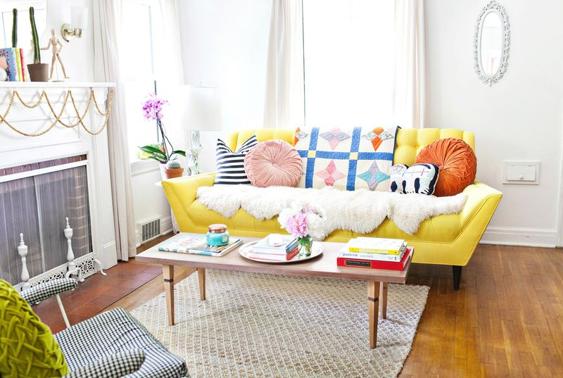 Love this yellow couch!