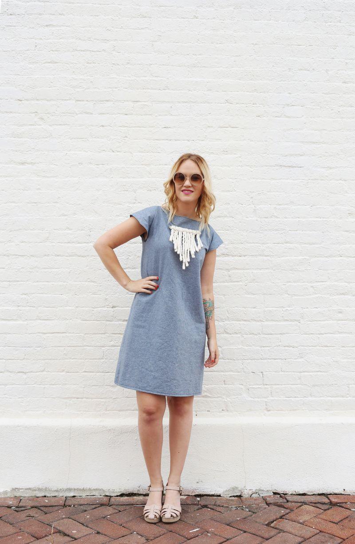 DIY denim dress (without a pattern) via abeautifulmess.com