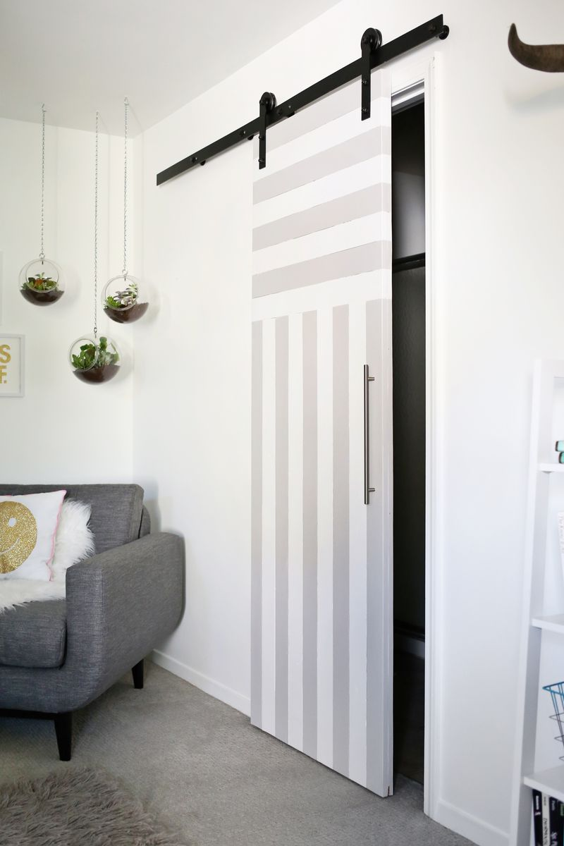 Striped sliding door