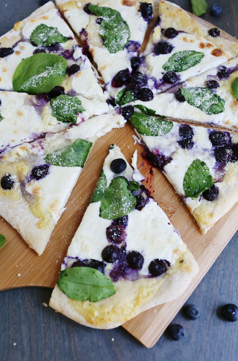 White sauce and blueberry pizza