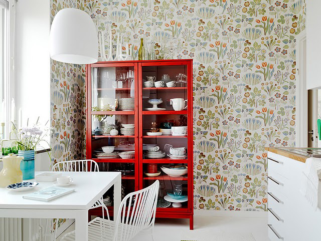 Josef Frank wallpaper in a kitchen