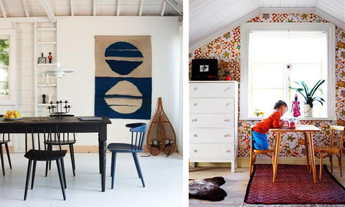 Scandinavian dining room and bedroom