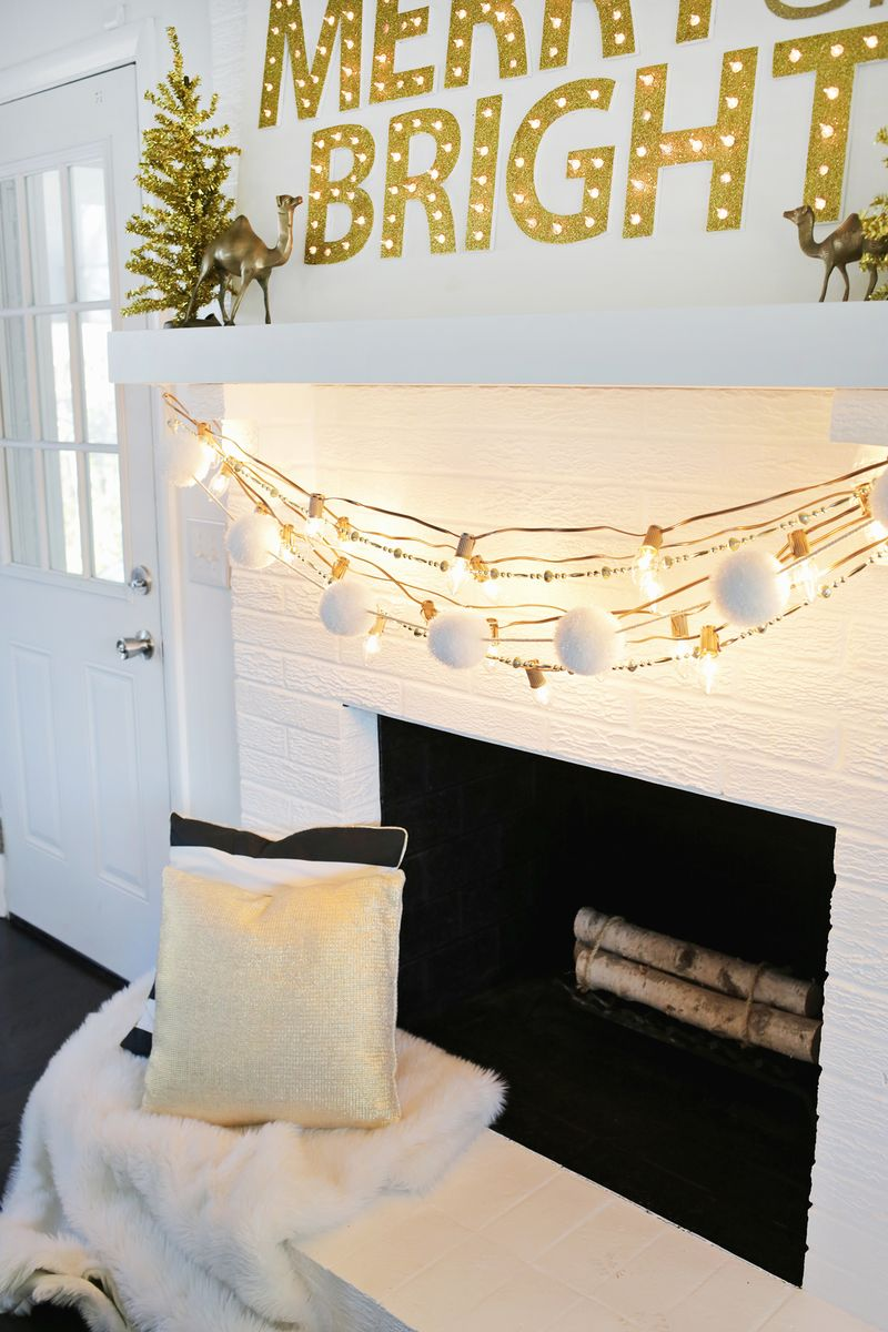 Spray paint light cords gold for a festive look! (click through for more)
