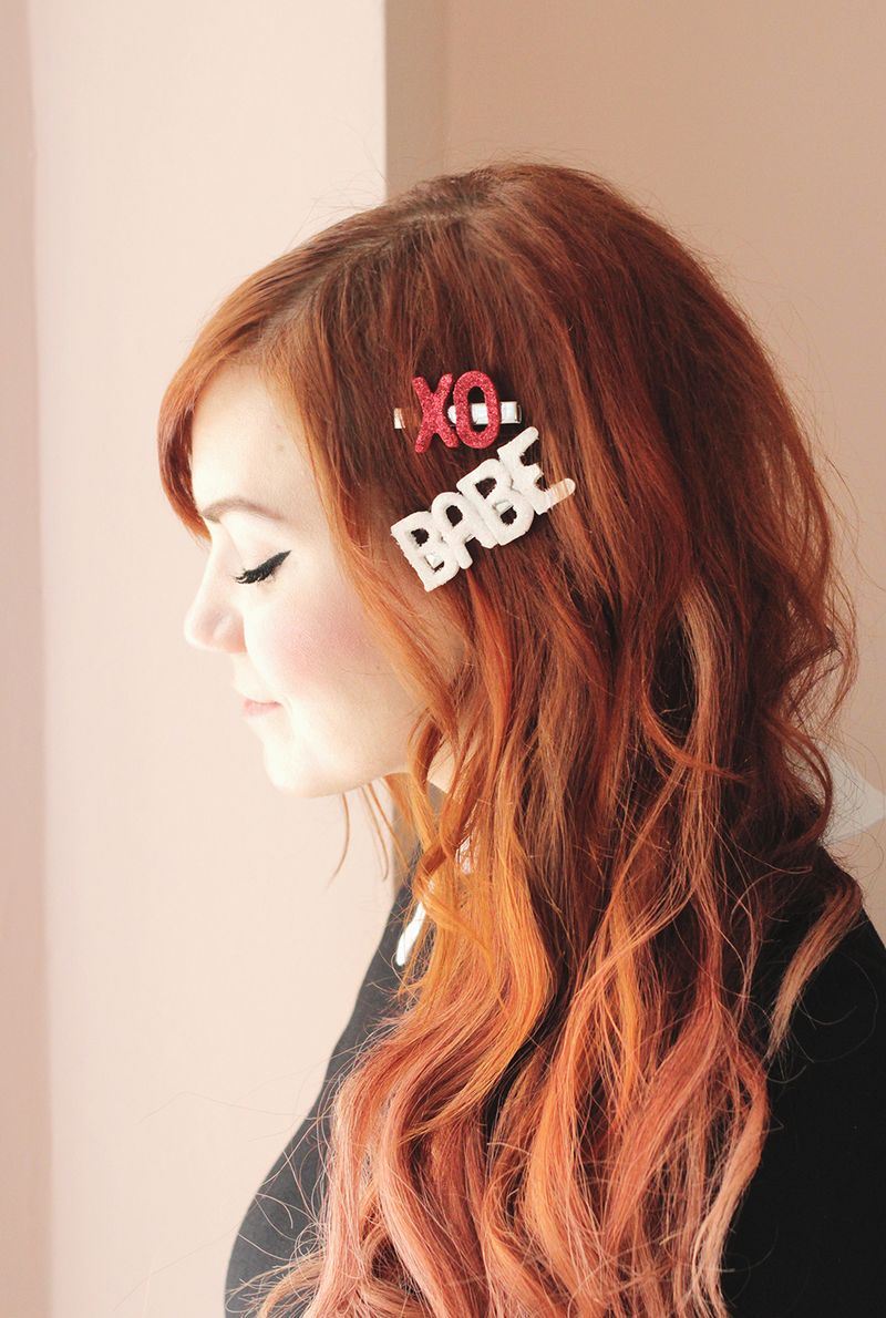 Make your own glitter barrettes for Valentines Day!