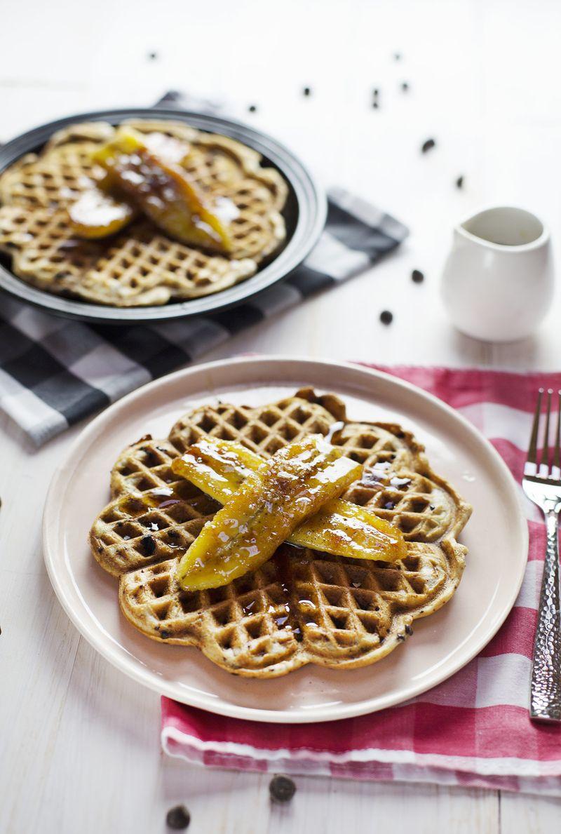 Sour Cream Waffles with Caramlized Bananas (via abeautifulmess.com)