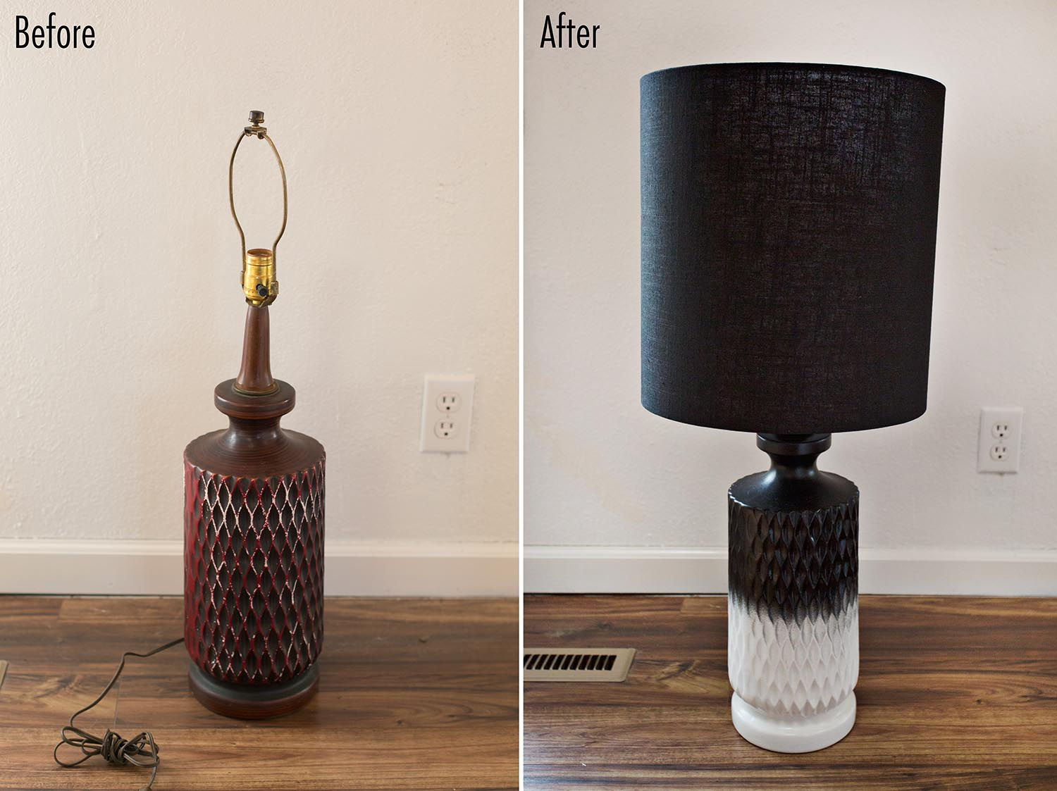 Before and after lamp restyle