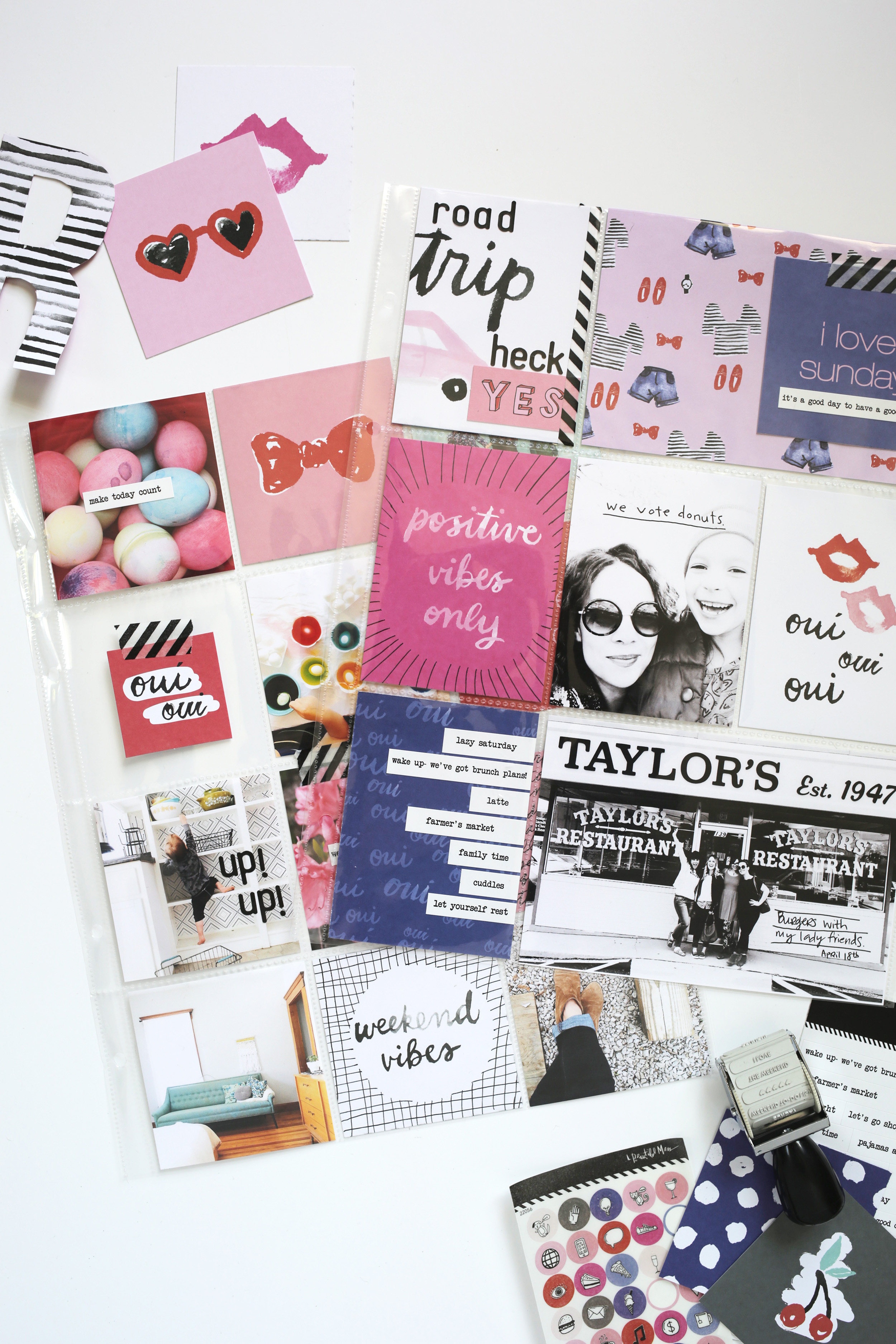 Scrapbook Sunday-April Messy Box. See how well this month's scrapbook kit mixes and matches with itself!