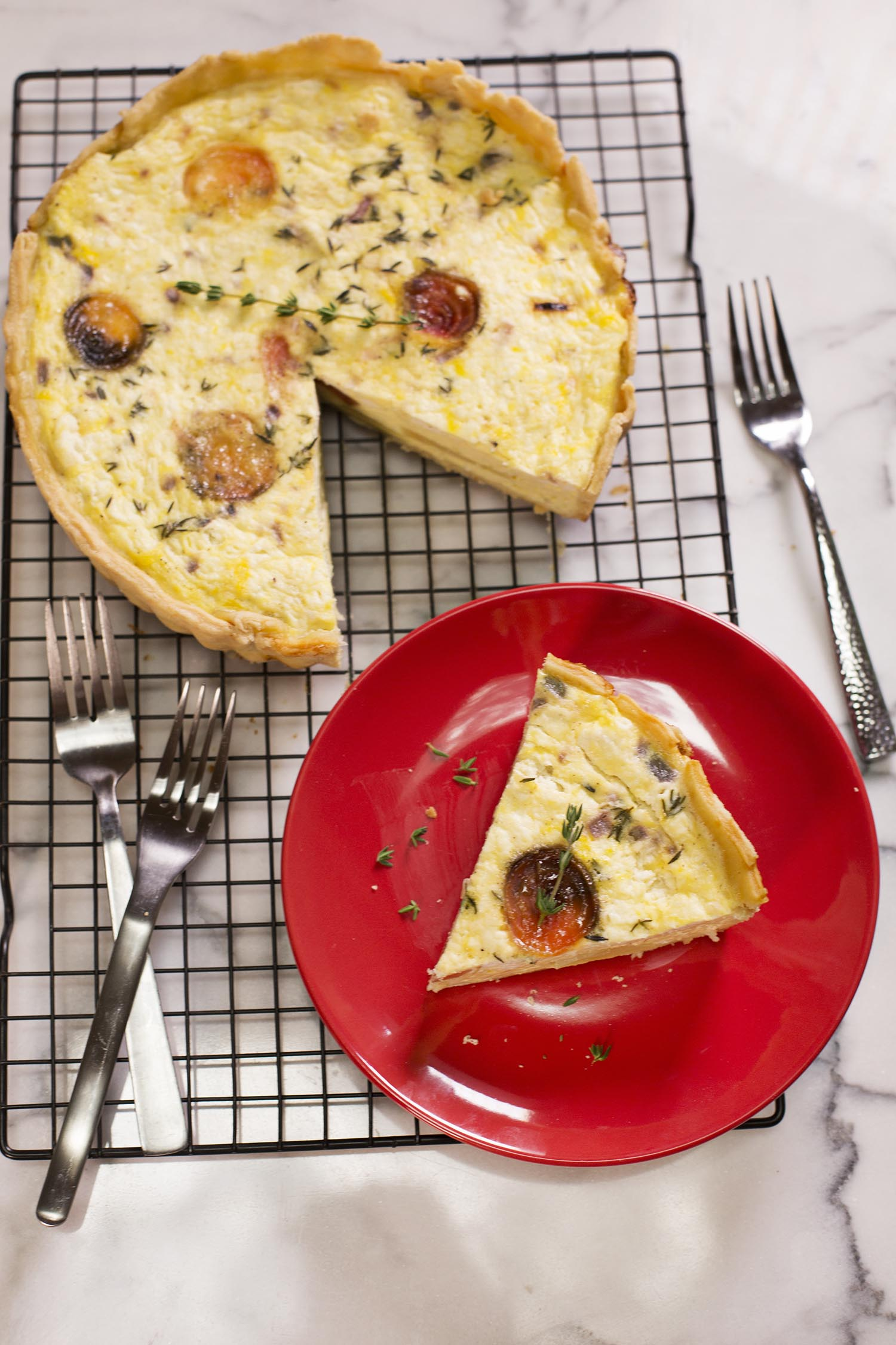 Beet, Thyme, and Goat Cheese Quiche