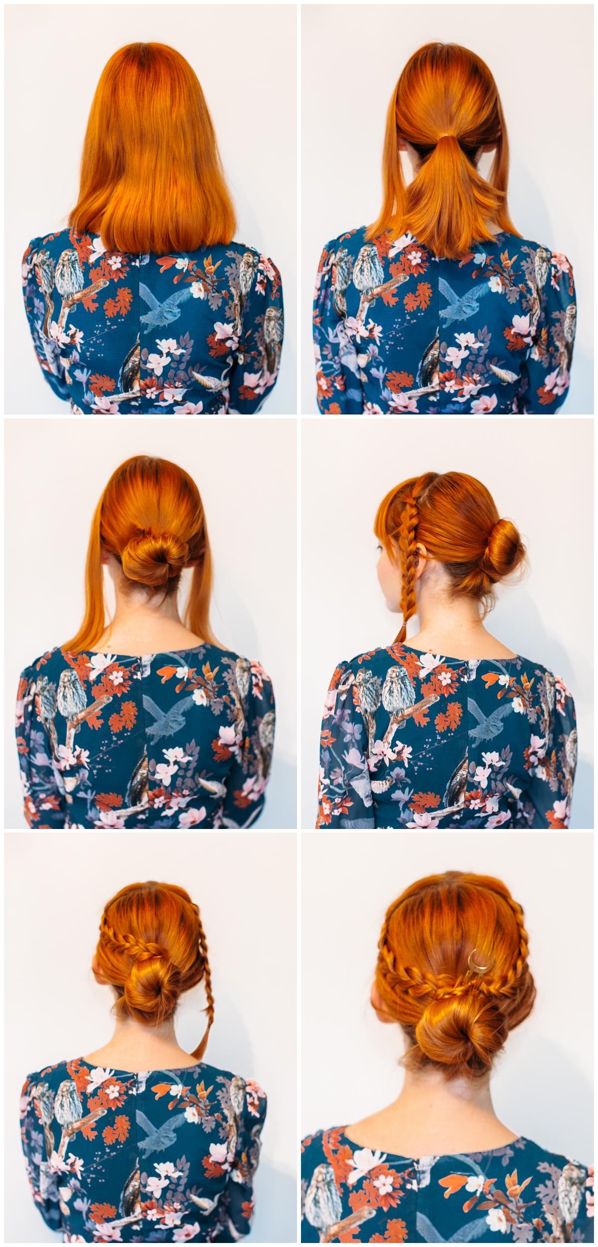 Five minute braided bun for medium length hair (click-through for the full tutorial)