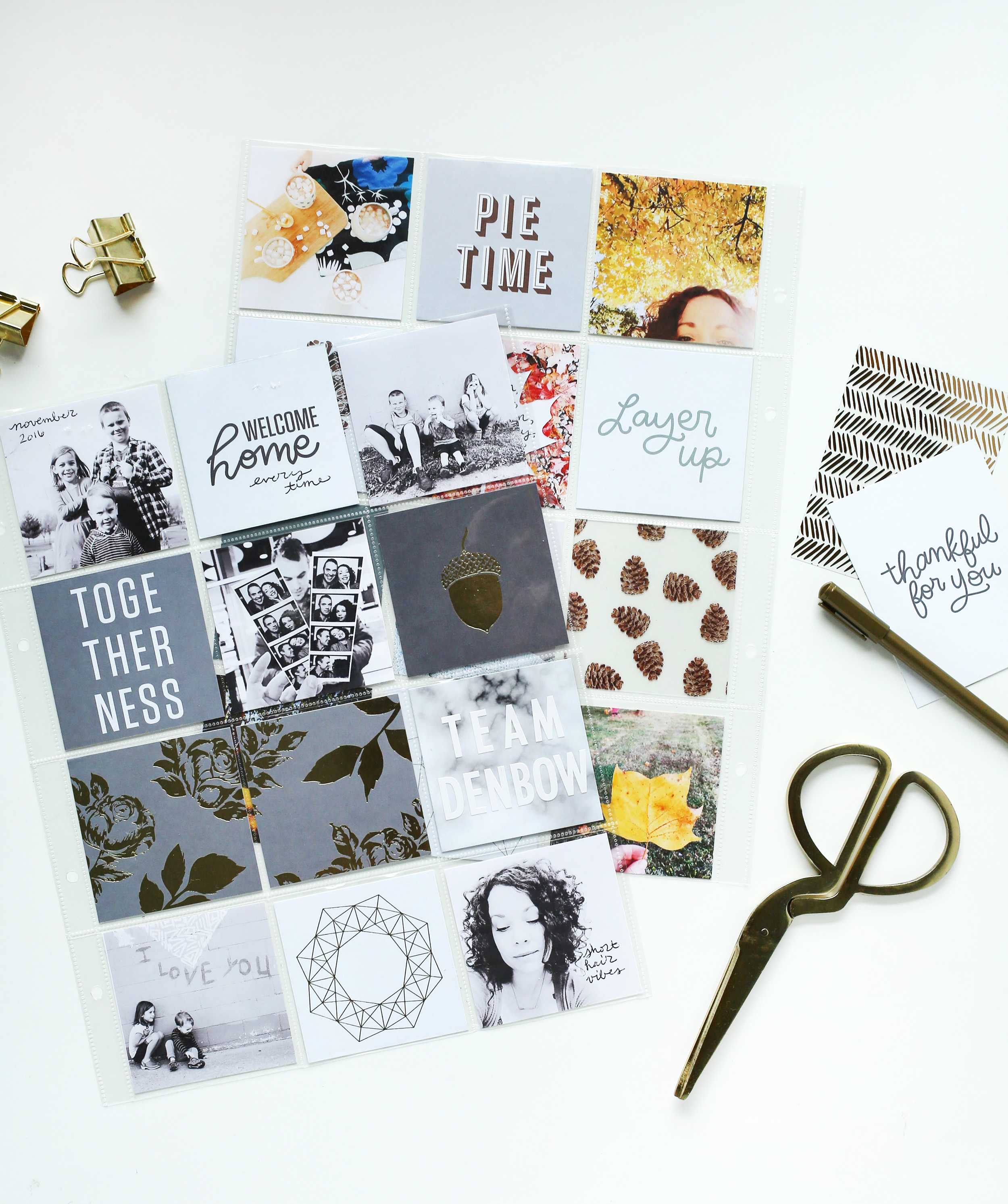 Scrapbook Sunday Messy Box from A Beautiful Mess. Full of great neutral and metallic cards for documenting the holidays