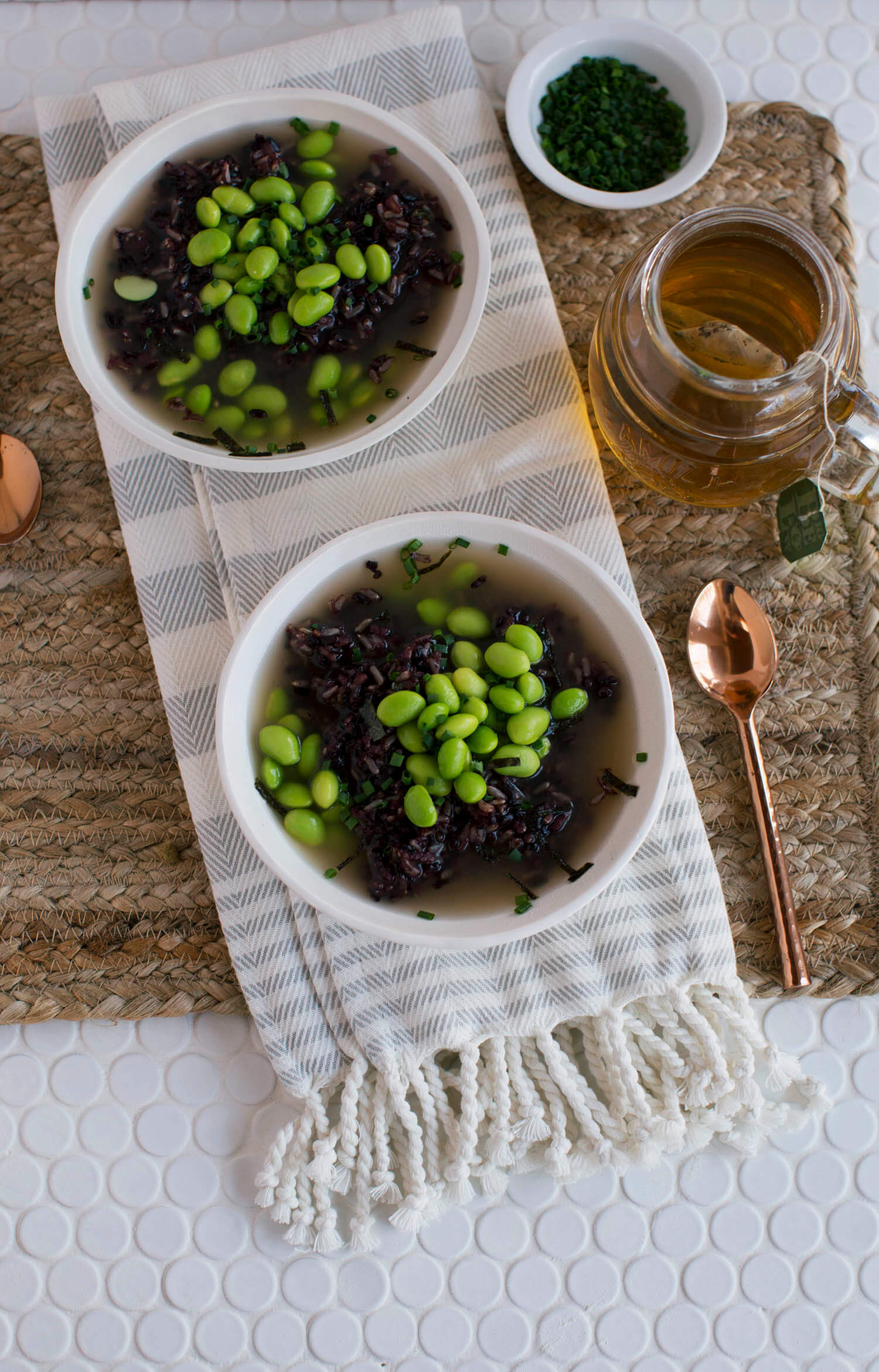 Miso Soup with Wild Rice and Edamame (via abeautifulmess.com)