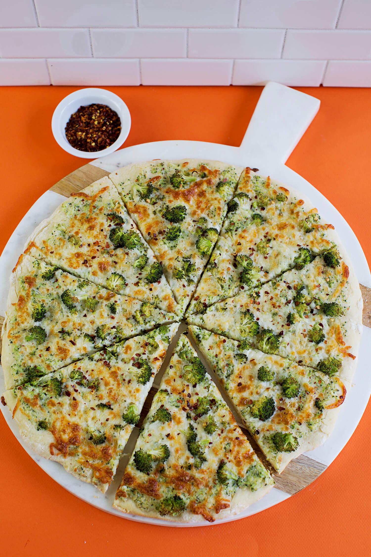 Creamy Double Broccoli Pizza - A Beautiful Mess