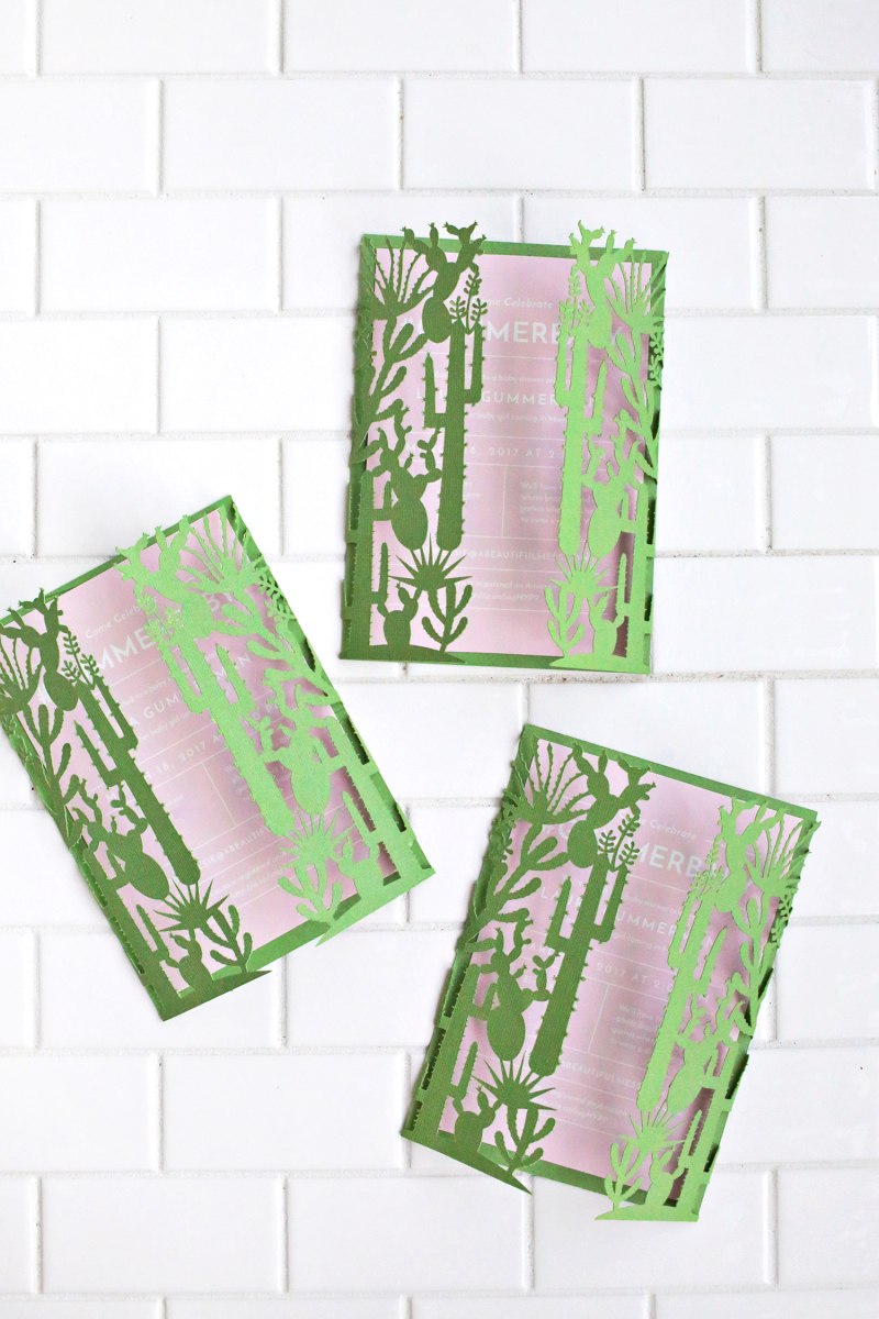 Cactus baby shower invitations by A Beautiful Mess