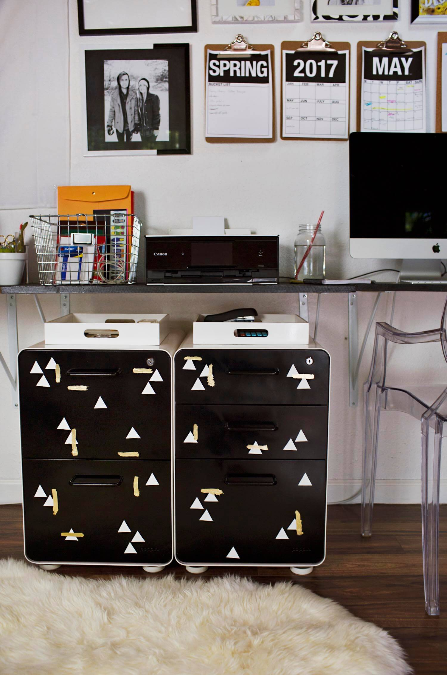 Best Paint For Metal Furniture File Cabinet Makeover (via  Abeautifulmess.com)
