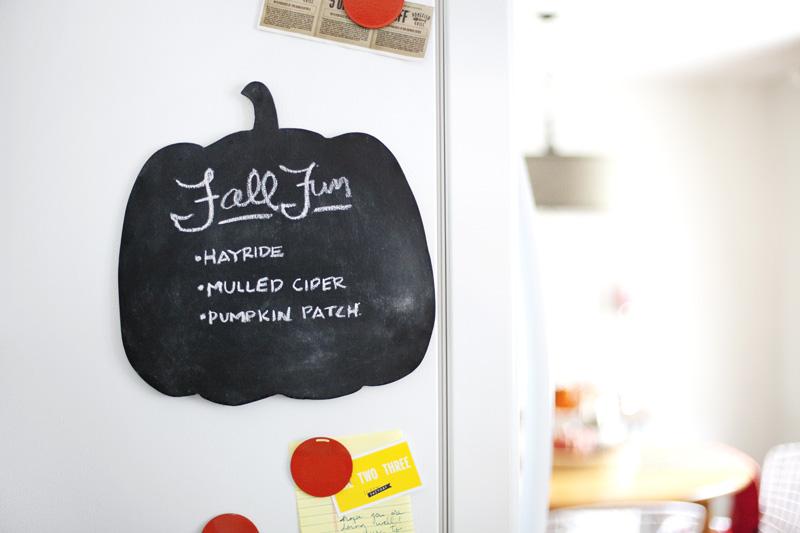 Make a pumpkin chalkboard for thankful lists or fun to-do lists