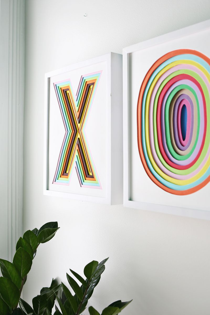 Create colorful wall art using layered foam sheets