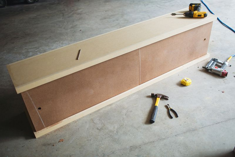 Make a nursery bench-storage with one sheet of plywood