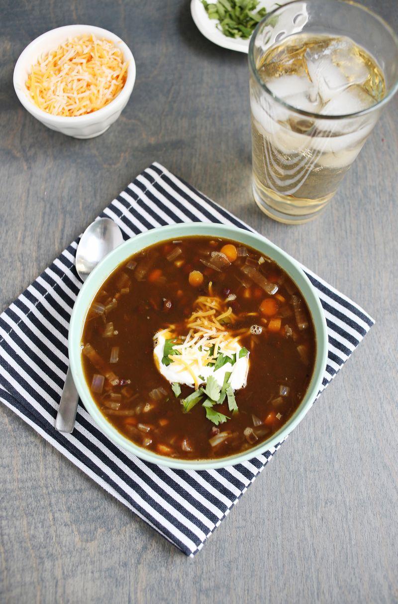 Easy Black Bean Soup via A Beautiful Mess