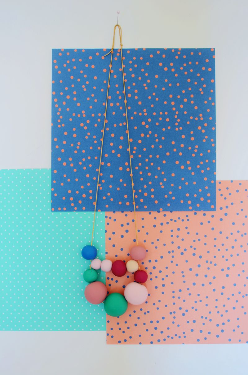 Beaded looped clay necklace