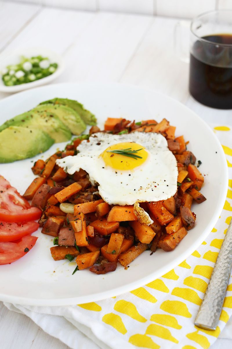 Gimmie! Sweet potato + bacon breakfast hash (click through for recipe)