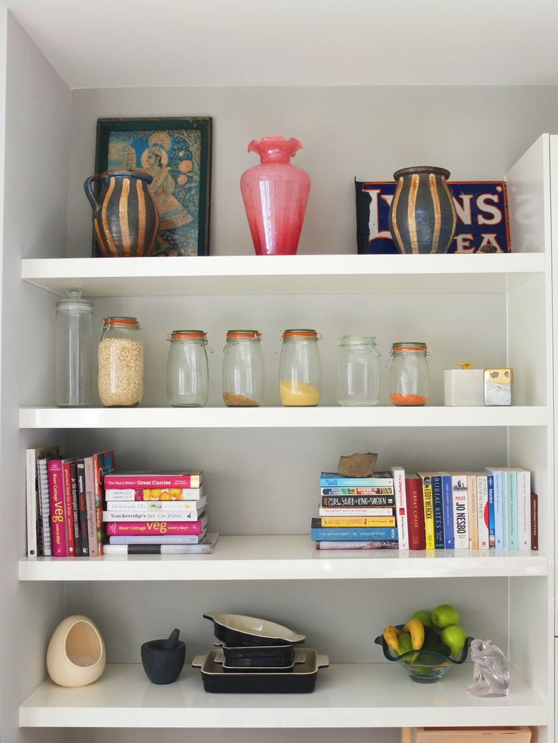 Dining area shelves