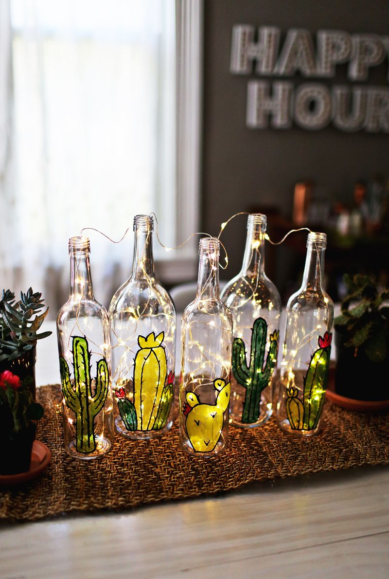 Cactus garden from faux stained glass (via abeautifulmess.com)