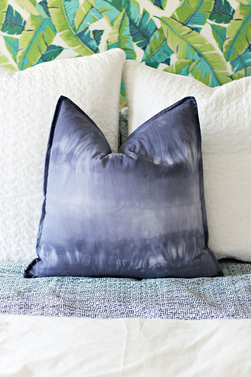 Shibori dyed pillow