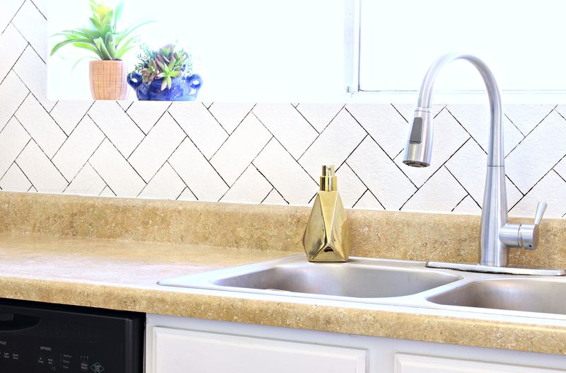 DIY Herringbone Faux Backsplash