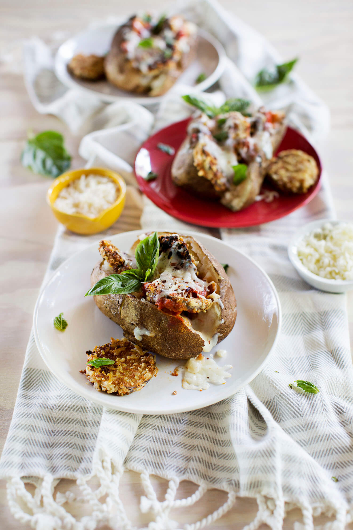 Aubergine Parm gebackene Kartoffeln