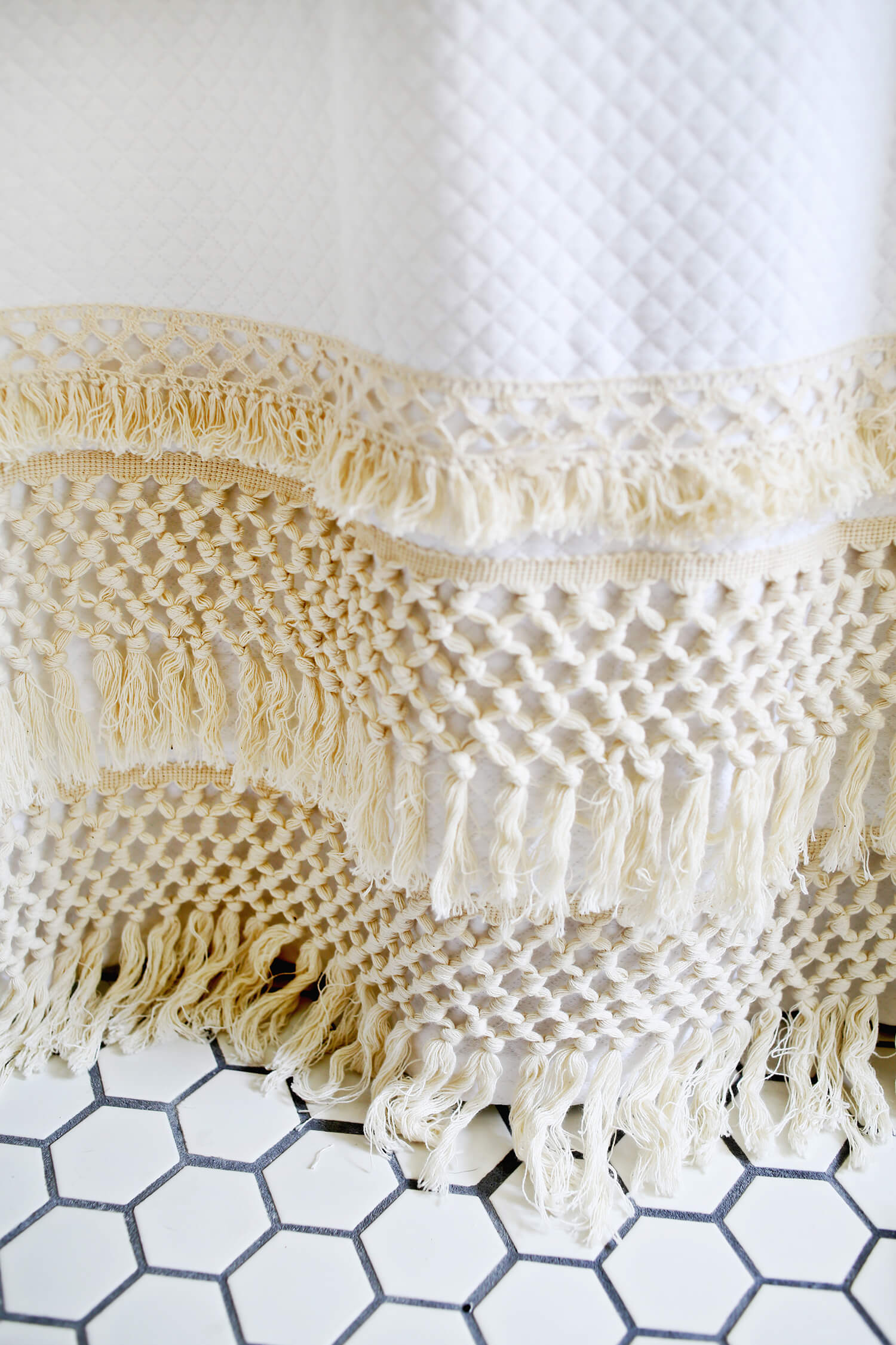 Macrame Shower Curtain DIY Click Through For Tutorial
