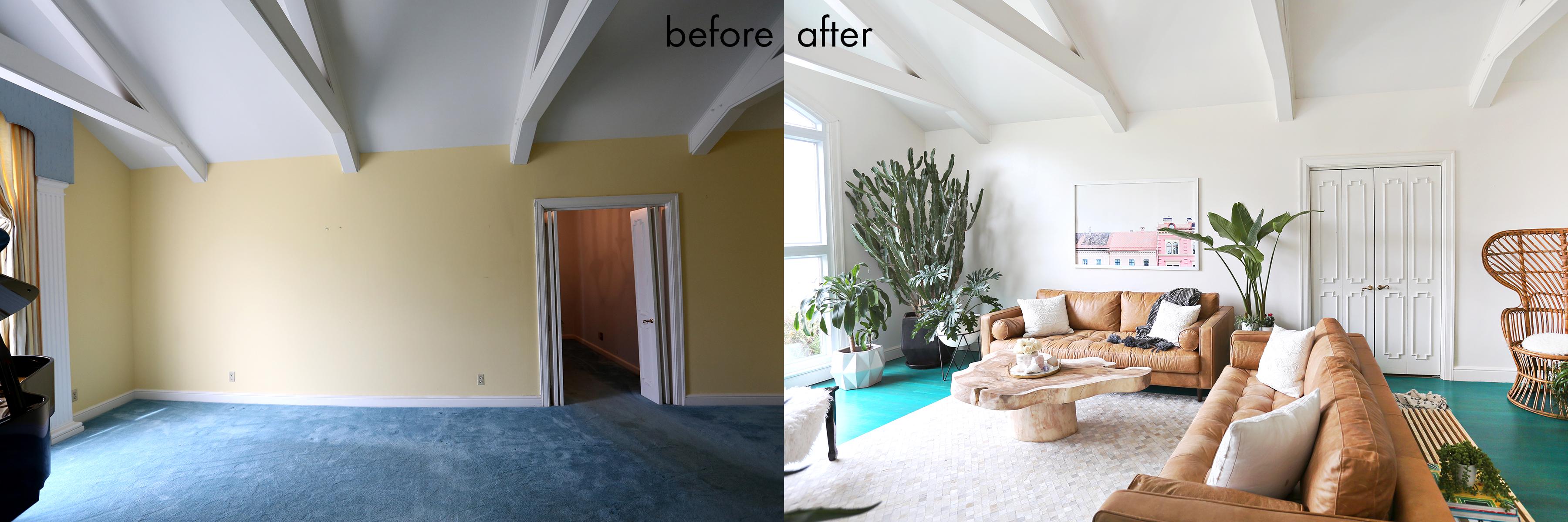 Elsie Larson's living room before + after!