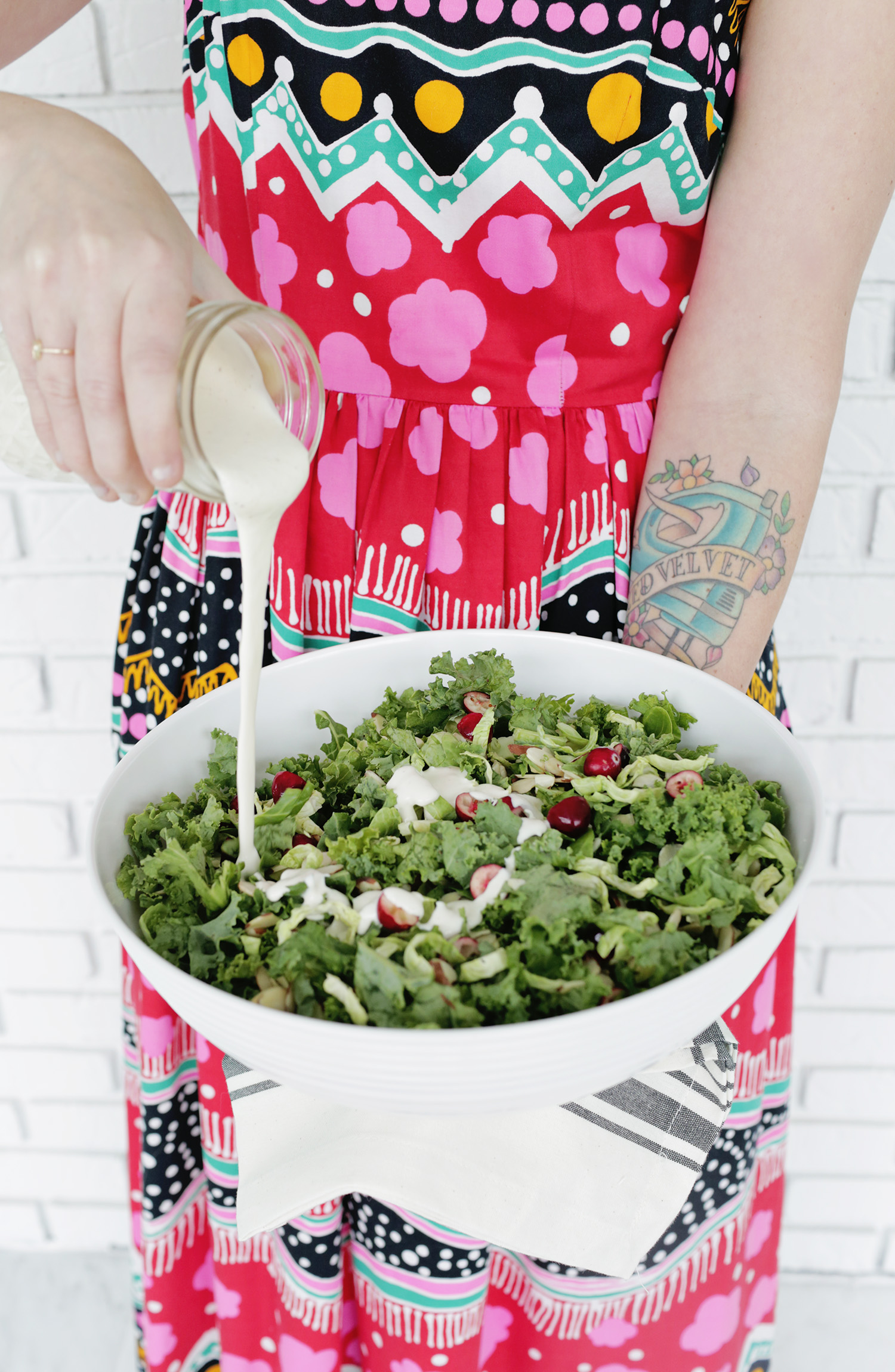 Creamy kale, brussels and cranberry salad