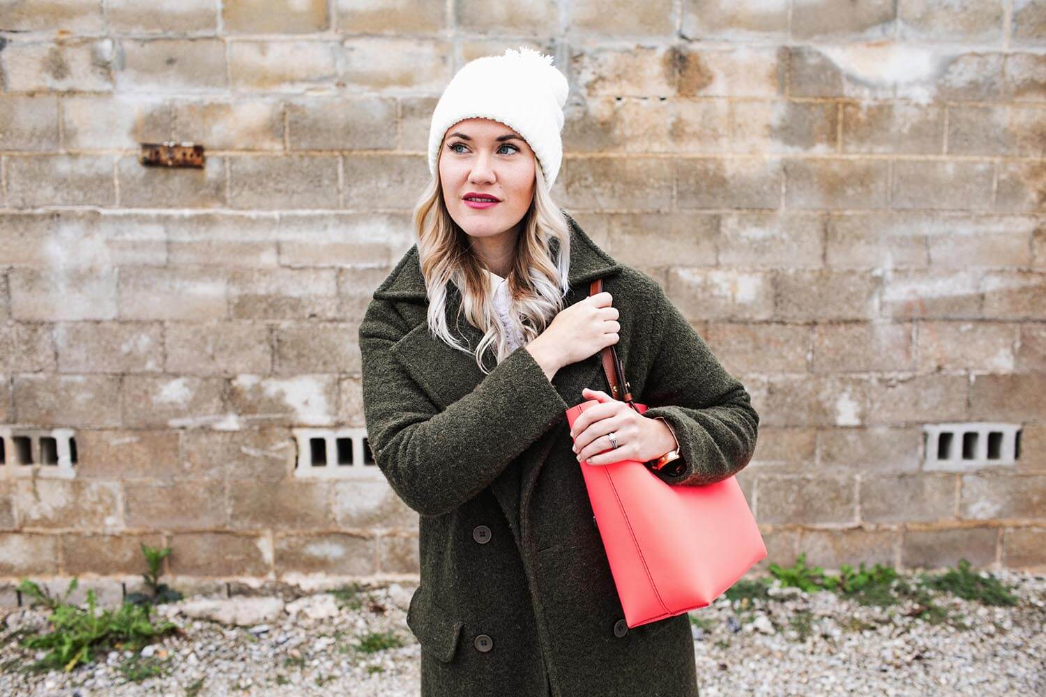 Pom pom hat and army green coat