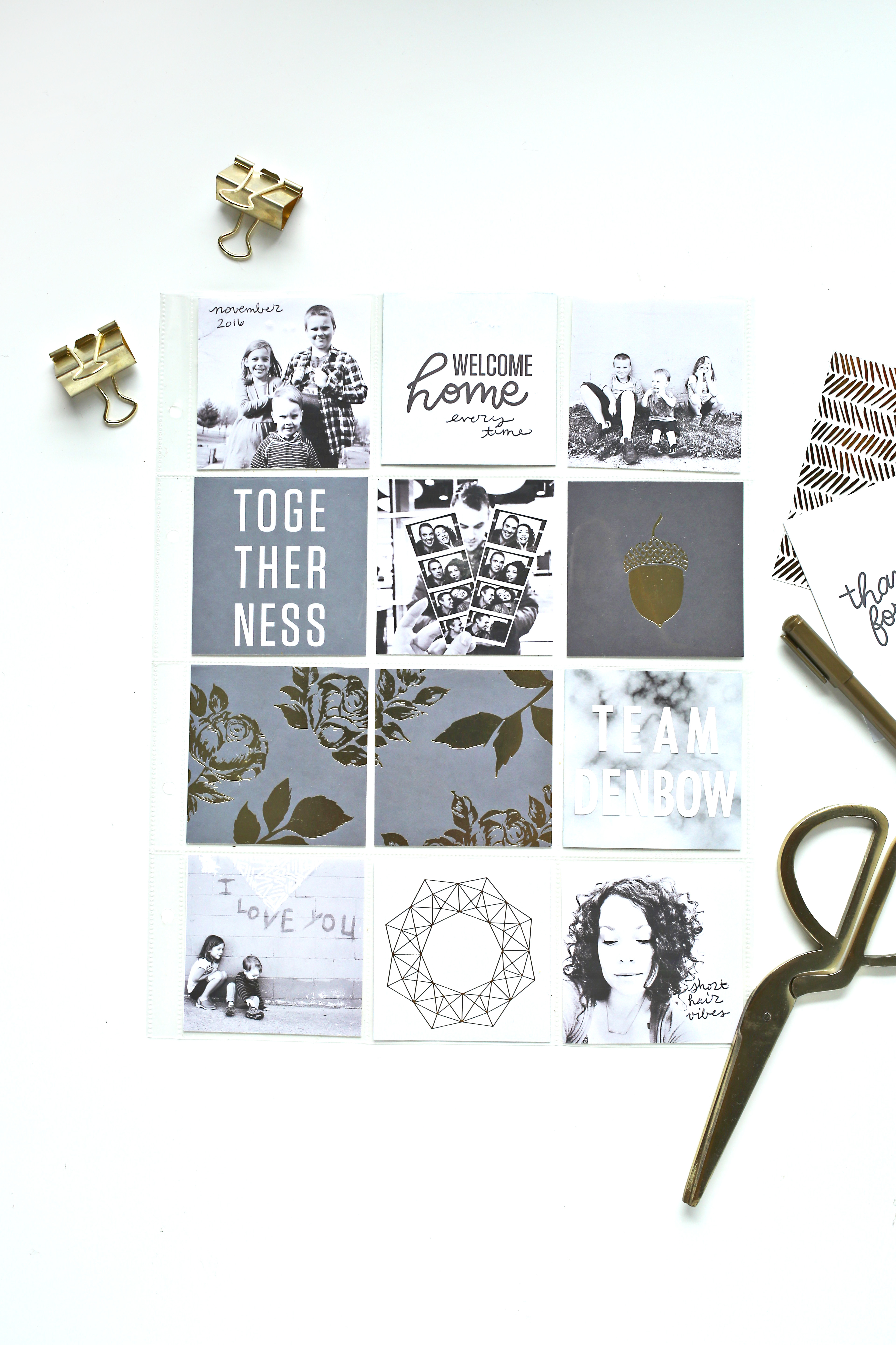 Neutral and Metallic Scrapbook Sunday Messy Box from A Beautiful Mess