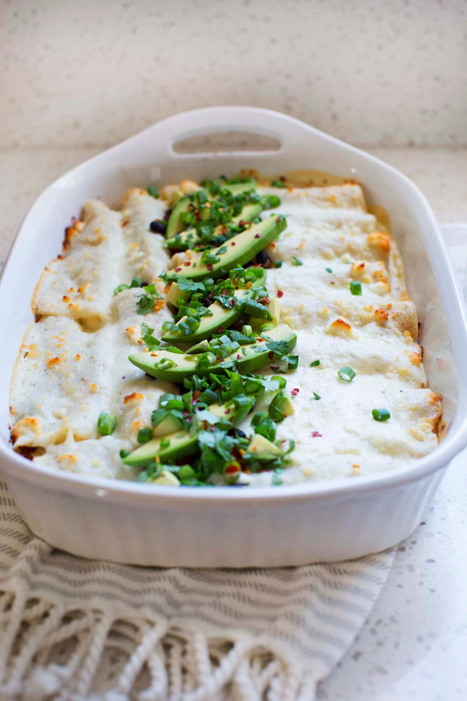Creamy White Sauce Veggie Enchiladas (via abeautifulmess.com)