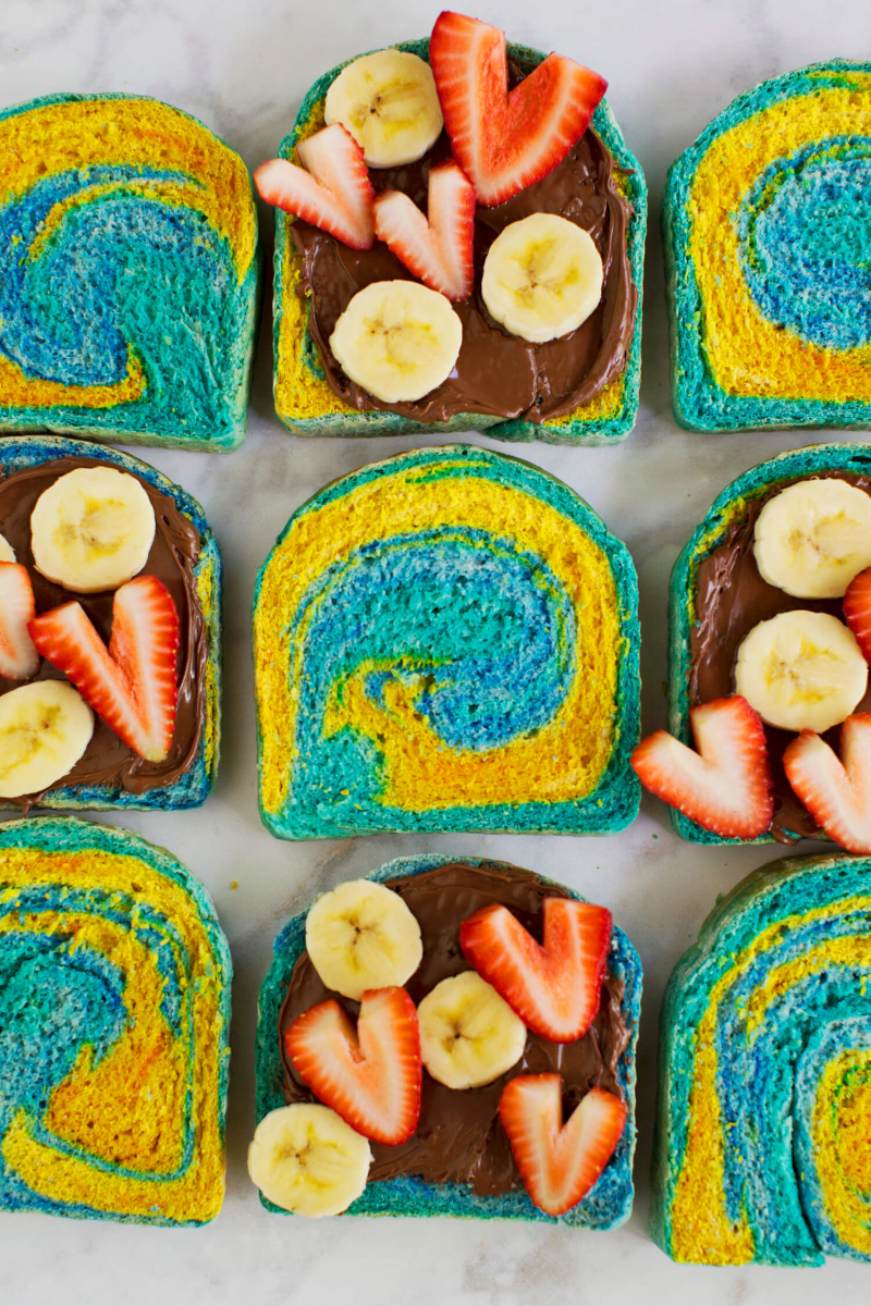 How to Make Marbled Rainbow Bread (via abeautifulmess.com)