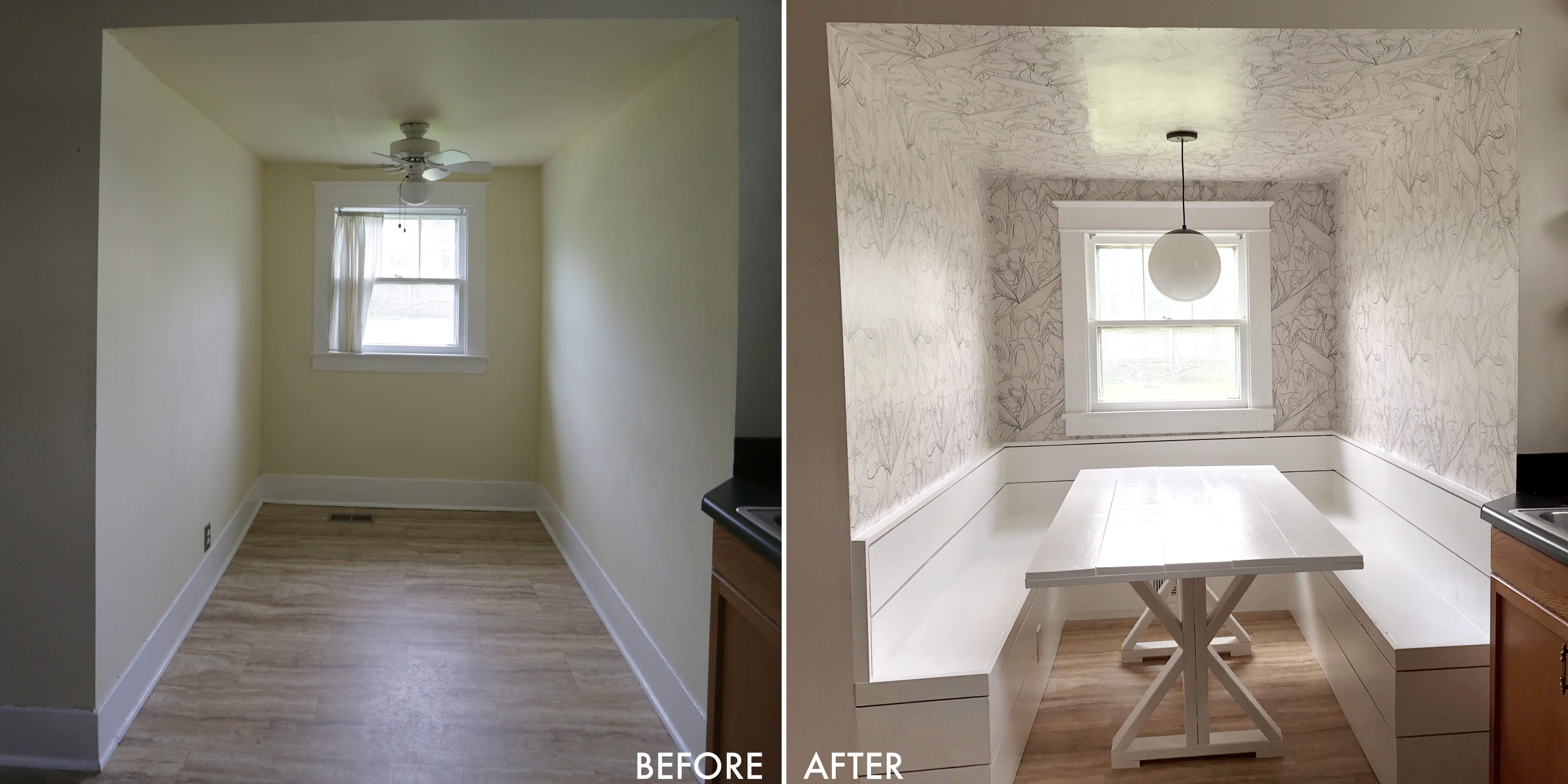 Before and After! Learn to build this breakfast nook on ABeautifulMess.com