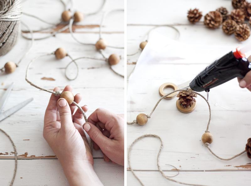 Make a delicate fall pine cone garland